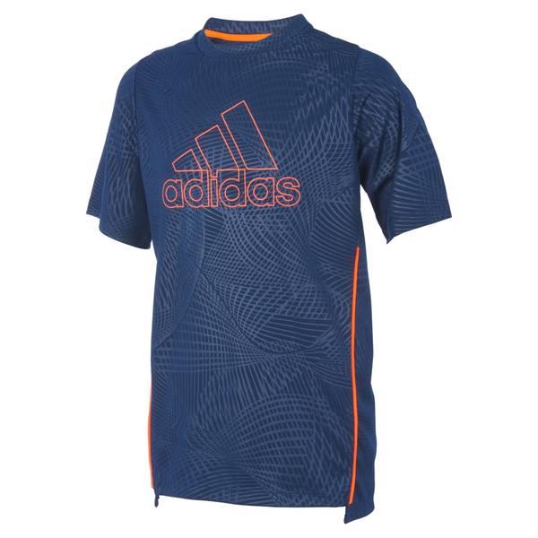 Boys' Navy & Orange Short Sleeve Net Training Top