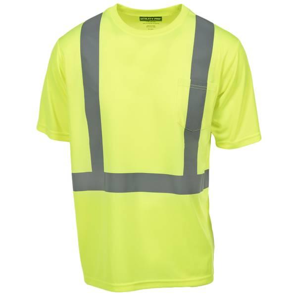 Men's Yellow Class 2 Hi-Vis Short Sleeve Pocket Tee Shirt