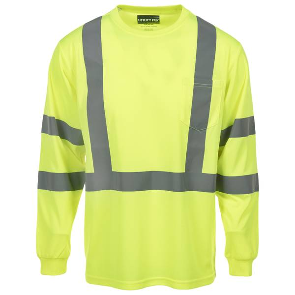 Men's Yellow Class 3 Hi-Vis Long Sleeve Pocket Tee Shirt