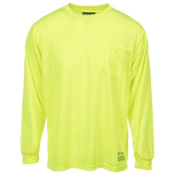 Men's Yellow Class 3 Hi-Vis Long Sleeve Perimeter Pocket Tee Shirt