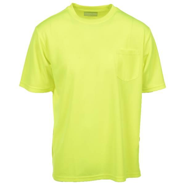 Men's Yellow Enhanced Visibility Hi-Vis Short Sleeve Pocket Tee Shirt