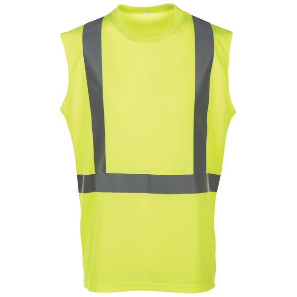 Men's Yellow Class 2 Hi-Vis Sleeveless Pique Shirt