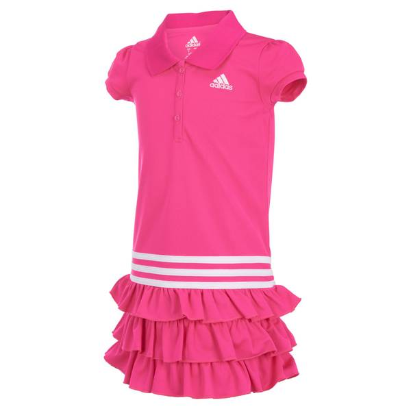 Girls'  Short Sleeve Ruffle Polo Dress