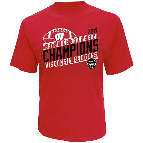 Men's Red Wisconsin Badgers 2017 Orange Bowl Champions T-Shirt