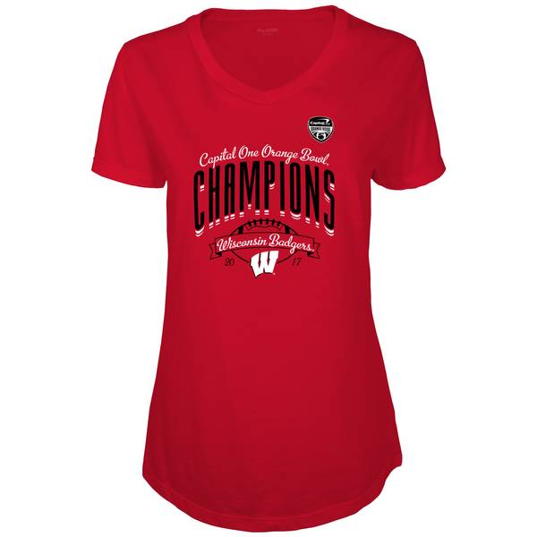 Women's Red Wisconsin Badgers 2017 Orange Bowl Champions T-Shirt