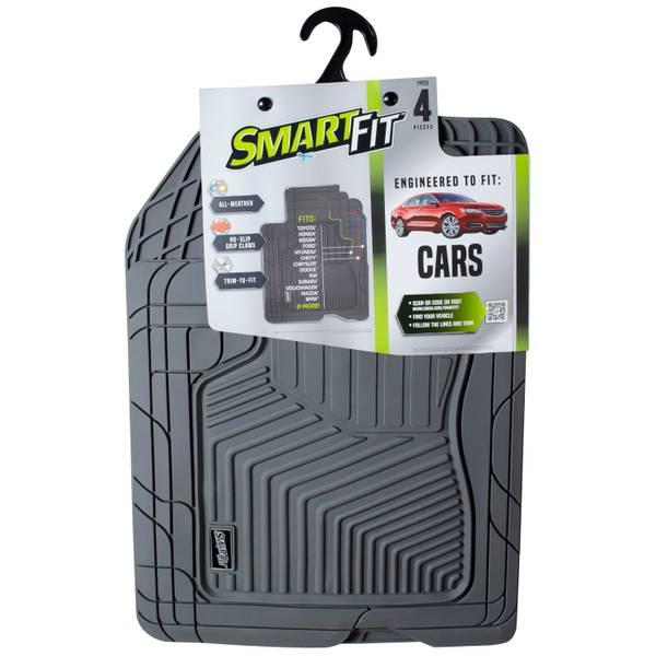 4-Piece Grey Rubber Car Floor Mat Set