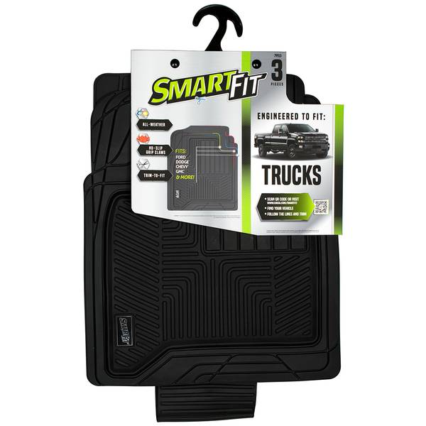 3-Piece Black Rubber Truck Floor Mat Set