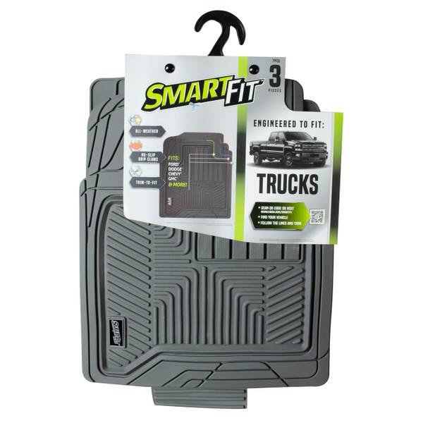 3-Piece Grey Rubber Truck Floor Mat Set