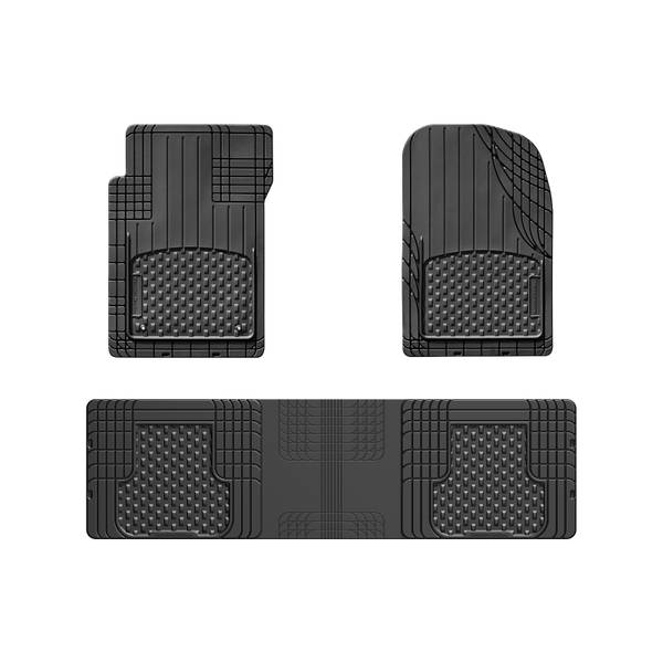 3-Piece Black Front and Rear Over The Hump All Vehicle Mat Set