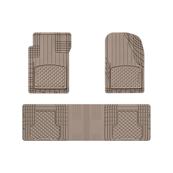 3-Piece Tan Front and Rear Over The Hump All Vehicle Mat Set