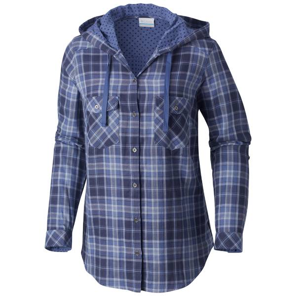 Women's Plum Check Times Two Hooded Long Sleeve Shirt