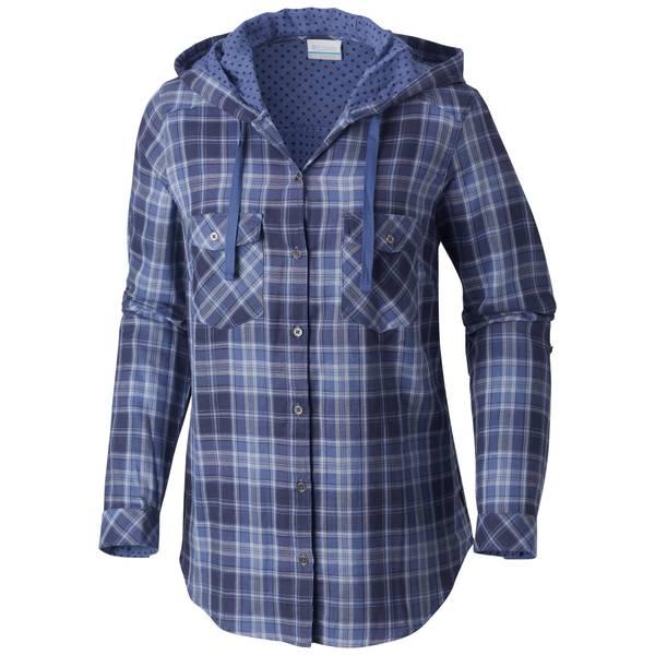 Misses Dark Plum Chalk Times Two Hooded Long Sleeve Shirt