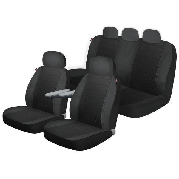 Seat Covers For Trucks >> Black Arlington Front Rear 3 Piece Truck Seat Cover Kit