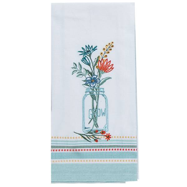 Blooming Thoughts Embroidered Tea Towel