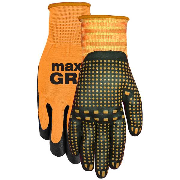 Men's Orange Max Grip Nitrile Dot Gloves