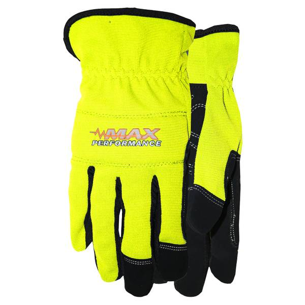 Men's Hi-Vis Max Performance Synthetic Leather Spandex Gloves