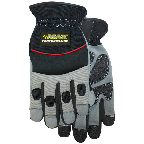 Men's PVC Sure Grip Synthetic Leather Palm Open Cuff Gloves