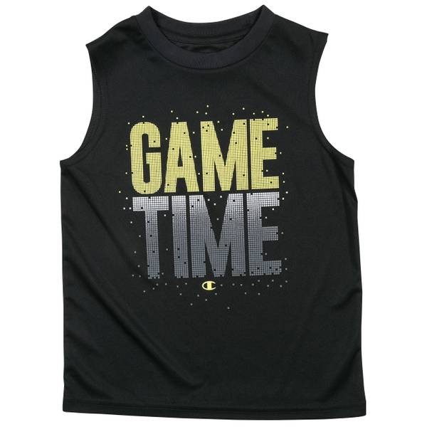 Big Boys' Black Game Time Muscle Tee