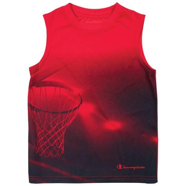 Boys' Crimson Sleeveless Basketball Hoop Tee