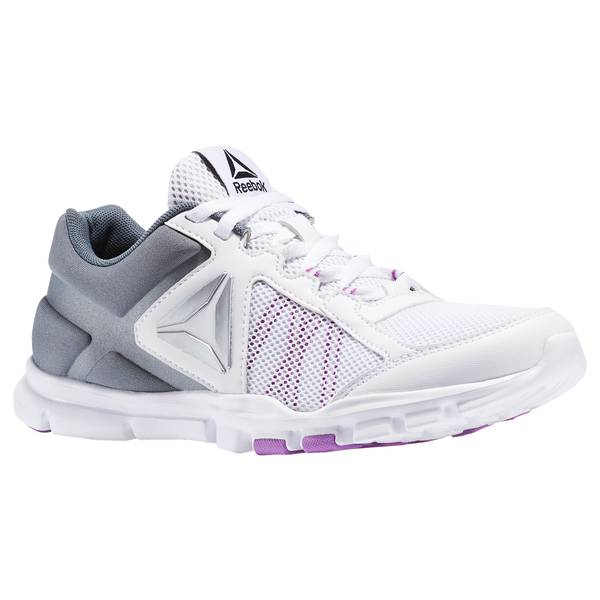 Women's White & Alloy & Vicious Violet Yourflex Trainette 9.0 MT Cross-Trainer Shoes
