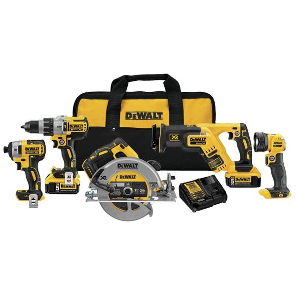 DEWALT DCK594P2 20V MAX Lithium-Ion XR Brushless 5 Piece Combo Kit ...