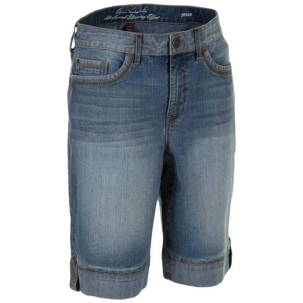Misses Jessa Reverse Denim Bermuda Shorts