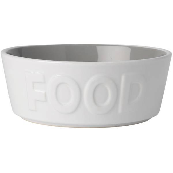 White & Grey 2.5-Cup Basics Pet Food Bowl
