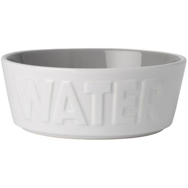 White & Gray 2.5-Cup Basics Pet Water Bowl