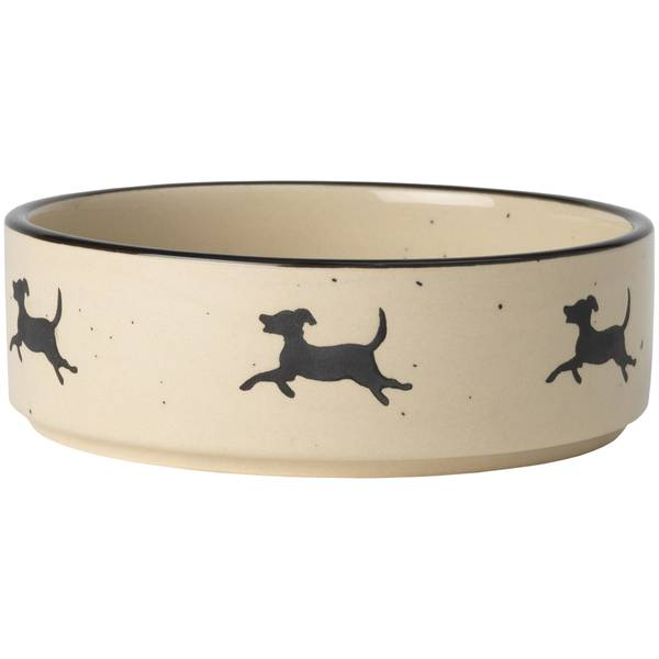 Natural & Black 6-Cup Chasing Dogs Pet Bowl