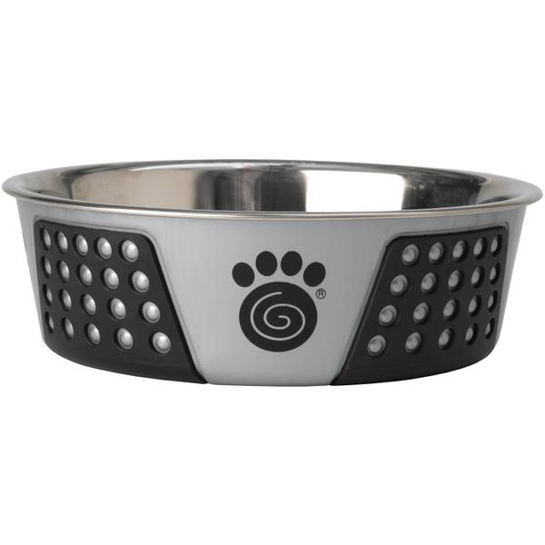 Gray & Black 6.5-Cup Stainless Steel Poly Pet Bowl