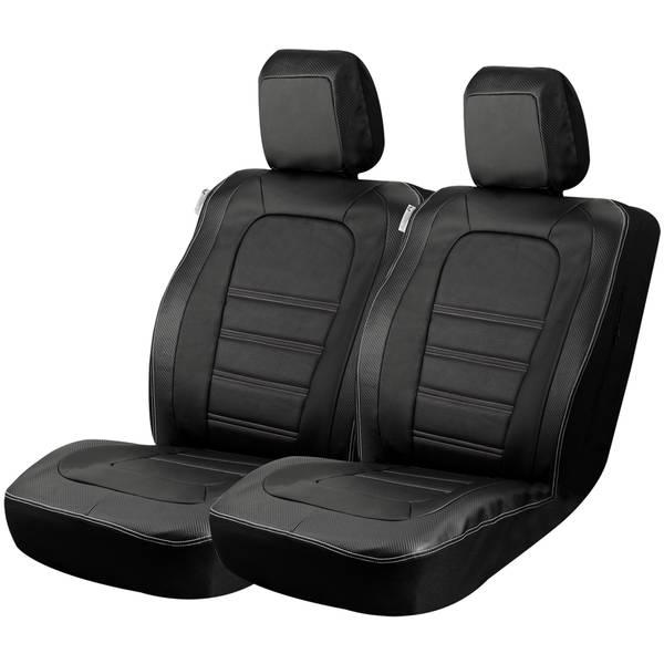 2-Piece Black Carbon Fiber Truck Seat Cover