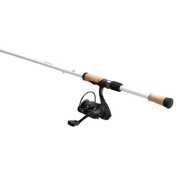 """6'6"""" Medium Light Code White Fishing Rod & Reel Spinner Combo"""