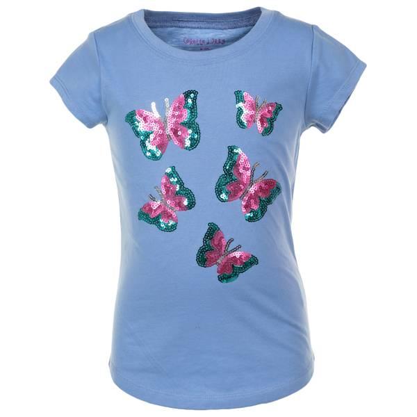 Girls' Short Sleeve Sequin Knit Top