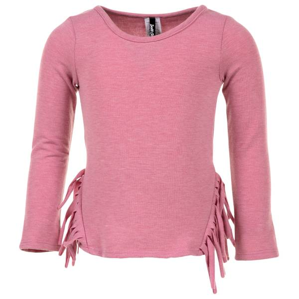 Girls' Scoop Neck Long Sleeve Top with Side Fringe
