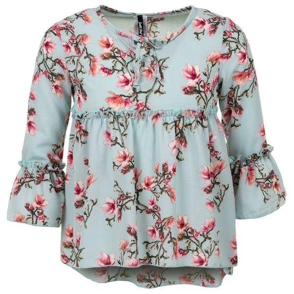 Girls' Scoop Neck 3/4-Sleeve Flounce Swing Top