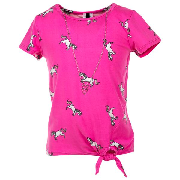 Girls' Scoop Neck Short Sleeve Side Tie Top with Necklace