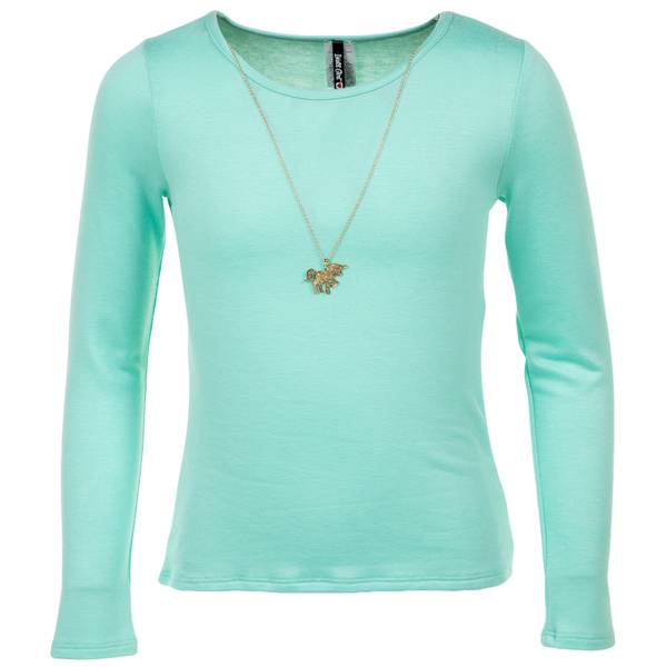 Girls' Neck Long Sleeve Hi Lo Top with Lace & Necklace