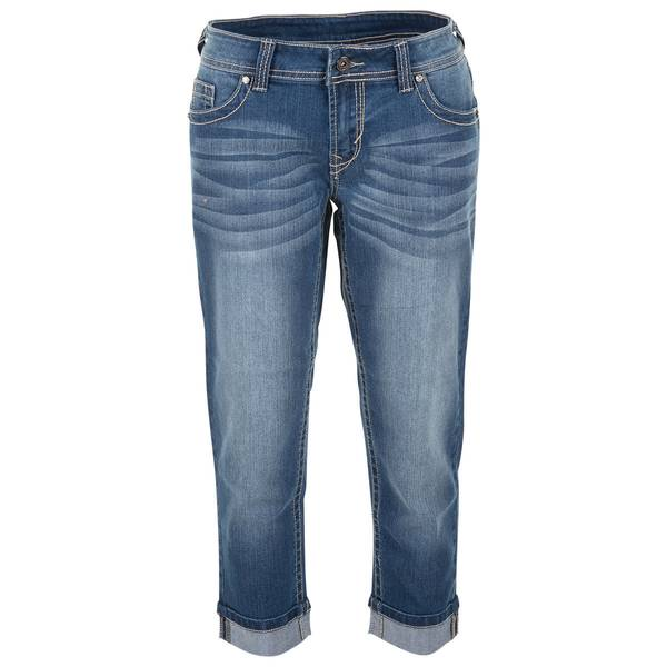 "Women's Medium Wash 18"" Capri Embellished Flap Pocket Pants"