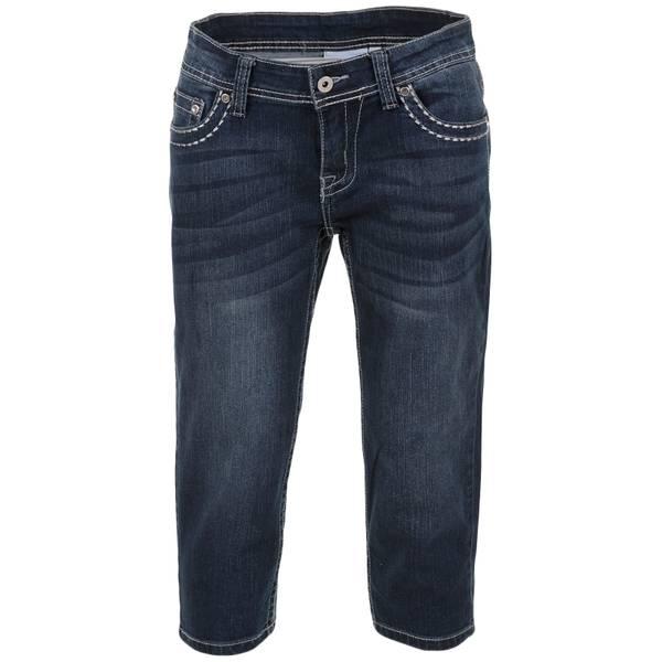 "Women's Dark Wash 19"" Star Embroidered Star Pocket Capri Pants"