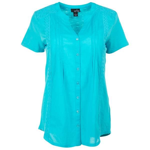 Women's Short Sleeve Y-Neck Button Front Mermaid Top