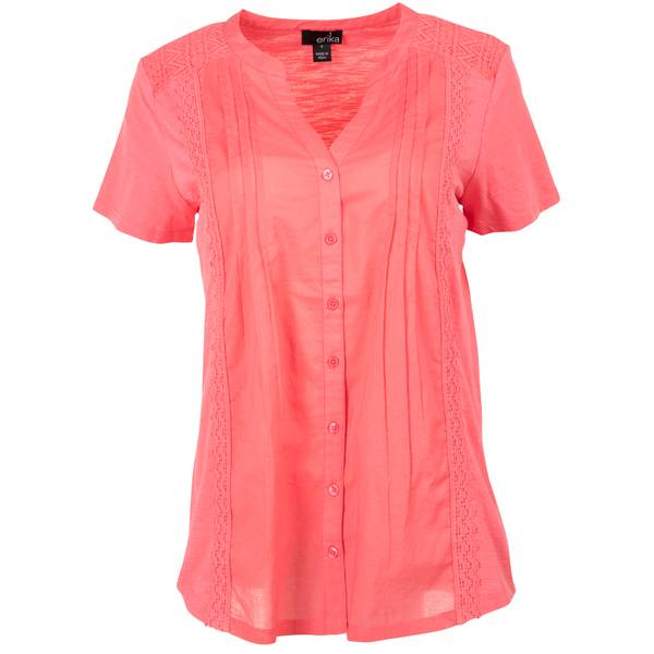 Women's Short Sleeve Y-Neck Button Front Sweet Pea Top