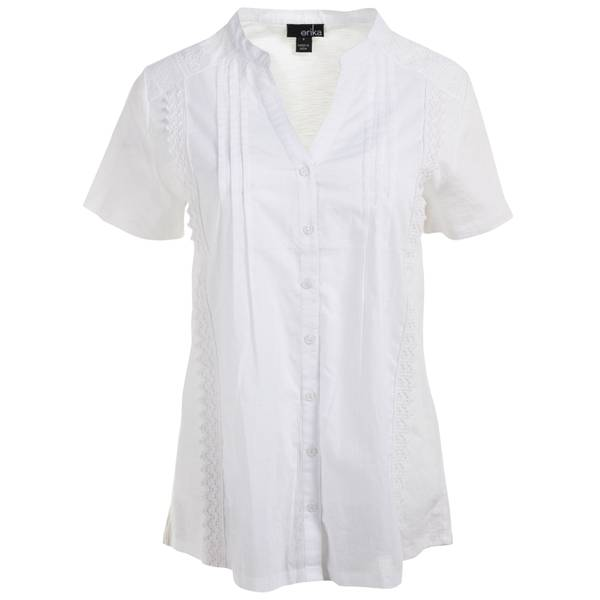 L MS S/S Y Neck Btn Front Bright White