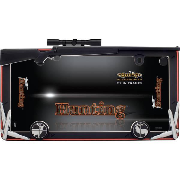 Matte Black & Orange Hunting with Fastener Cap License Plater Holder