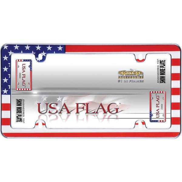 Chrome USA Flag License Plater Holder