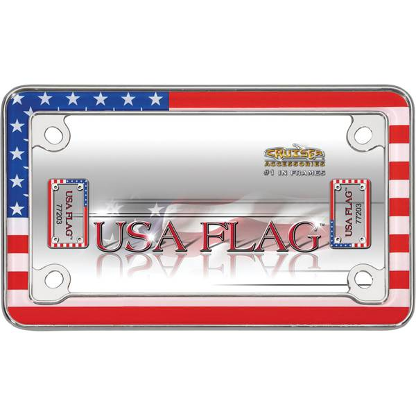 Chrome  MC USA Flag License Plater Holder