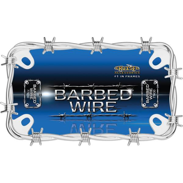 Chrome MC Barbed Wire License Plater Holder