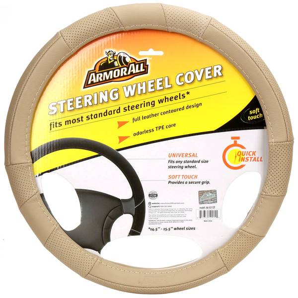 Fat Boy Tan Leather Steering Wheel Cover