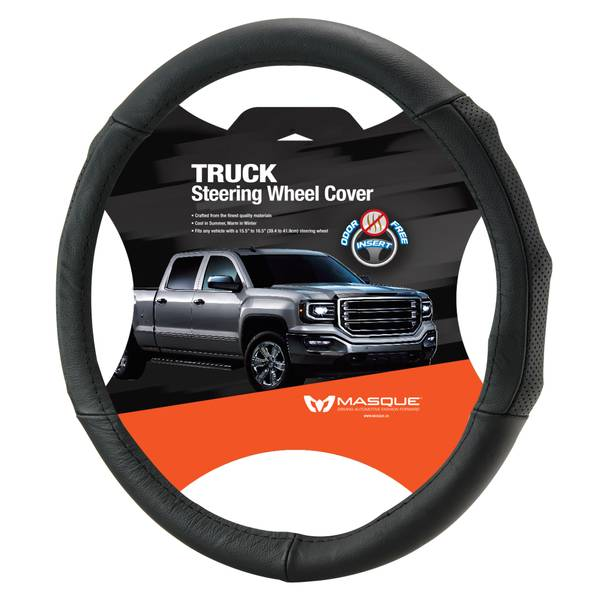 Truck Black Leather Steering Wheel Cover