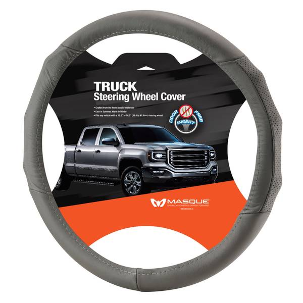 Truck Grey Leather Steering Wheel Cover
