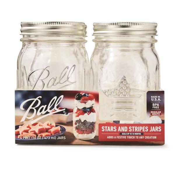 4 Pack Regular Mouth Pint Stars Stripes Jars
